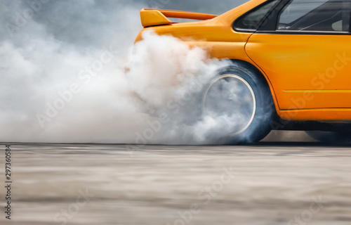 Race drift car burning tires on speed track Poster Mural XXL