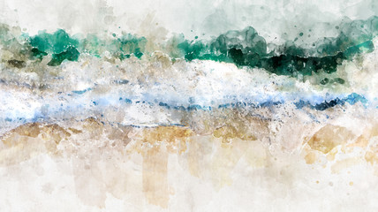 Abstract watercolor ocean blue sea wave. Creative abstract painted background, wallpaper, texture. Modern art. Contemporary art.