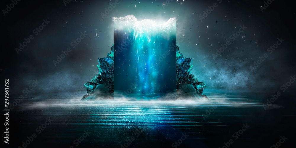 Fototapety, obrazy: Dark abstract futuristic background. Dark Scene. Sea depth, large abstract aquarium, sea waves. Blue neon light, concrete floor reflected in water.
