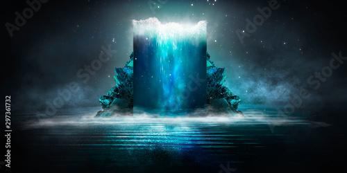 Dark abstract futuristic background. Dark Scene. Sea depth, large abstract aquarium, sea waves. Blue neon light, concrete floor reflected in water.