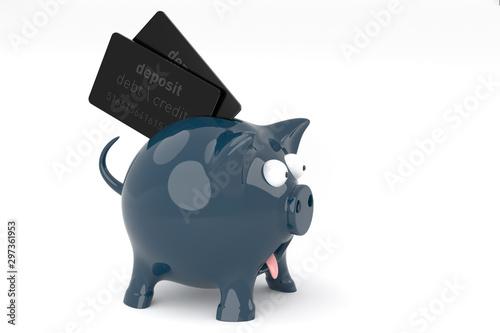 Photo consumption, expenditures Debt loan overload - one very surprised black piggy ba
