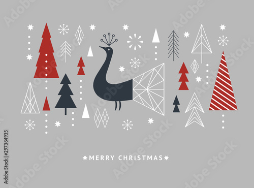 Christmas and New Year's card.Greeting cad,  Banner,  brochure design, gift card. Minimalist style