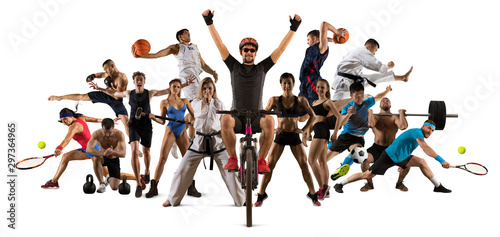 Sport collage. Cycling, tennis, soccer, taekwondo, fitness, bodybuilding, fighter and basketball players