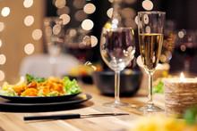 Festive Table Setting. Food An...