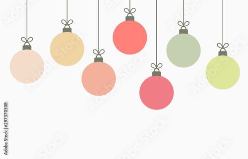 Fotografia  Christmas balls hanging ornaments background.