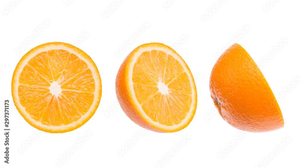 Fototapety, obrazy: Sliced orange close-up. Three parts of an orange. Parts of an orange isolate on a white background.