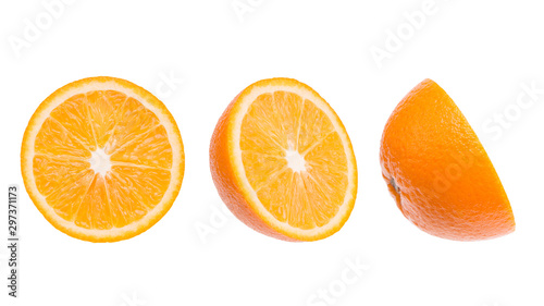 Sliced orange close-up. Three parts of an orange. Parts of an orange isolate on a white background. - 297371173