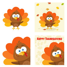 Cute Turkey Bird  Cartoon Character Set 2. Flat Vector Collection Isolated On White Background
