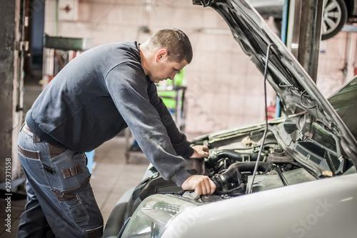 Pinturas sobre lienzo  Car mechanic repairer service technician checks and repairs auto engine