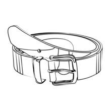 Leather Belt Contour Vector Illustration