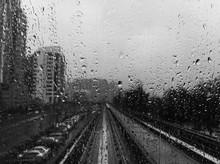 Skytrain On A Rainy Day. Black...