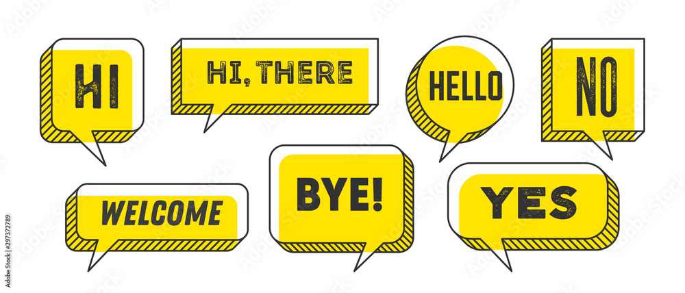 Fototapeta Speech Bubble. Set of 3d and 2d line speech bubble