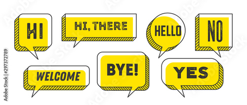Obraz Speech Bubble. Set of 3d and 2d line speech bubble - fototapety do salonu