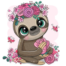 Cartoon Sloth With Flowers On ...