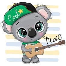 Cartoon Koala In A Cap Is Play...
