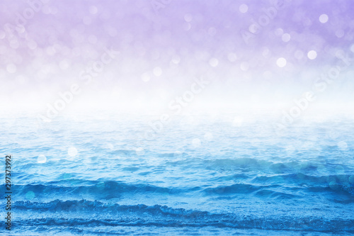 Foto op Plexiglas Purper Pastel sea and sky images design with sparkling bokeh background