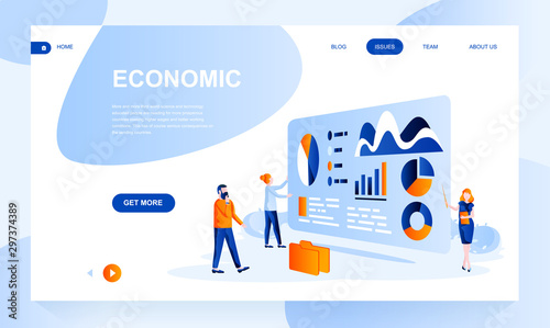 Fototapeta Economic flat landing page template with header. Analytics web banner, homepage design. Financial service vector illustration obraz