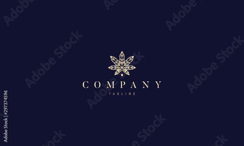 Carta da parati  Vector gold logo on which abstract image of hemp leaves.