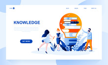 Knowledge Vector Landing Page Template With Header. Intellectual Development Web Banner, Homepage Design With Flat Illustrations