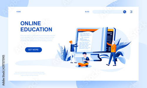 Photo Online education vector landing page template with header