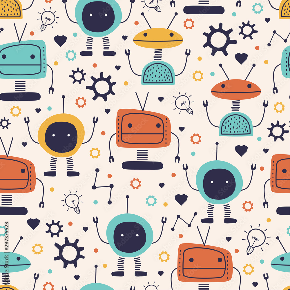 Cute seamless pattern with childish robot funny drawing. Vector hand drawn cartoon funny character monster cyborg for kids and baby fashion textile nursery theme ready for print.
