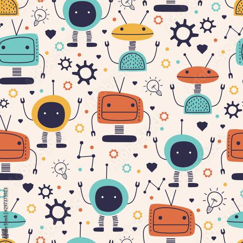 Tapety Industrialne  ladny-wzor-z-zabawnym-rysunkiem-dziecinna-robota-wektor-recznie-rysowane-kreskowka-potwor-zabawny-charakter-cyborga-dla-dzieci-i-dziecko-moda-wlokienniczych-przedszkola-tematu-gotowy-do-druku