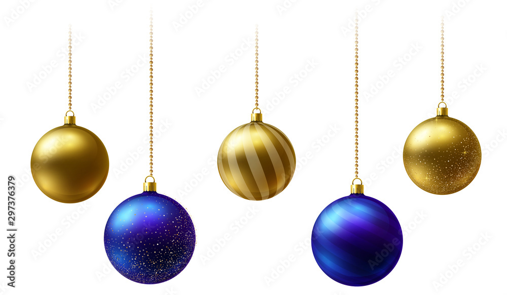 Fototapety, obrazy: Realistic gold and blue Christmas balls hanging on gold beads chains on white background.