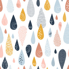 Raindrops Hand Drawn Color Vector Seamless Pattern. Multicolor Doodle Dribbles On White Background. Decorative Zigzag, Scrabble, Circle Spot Drops Flat Illustration. Textile, Wrapping Paper Design