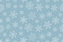 Christmas Snowflake Seamless Pattern Ice On Blue Background.
