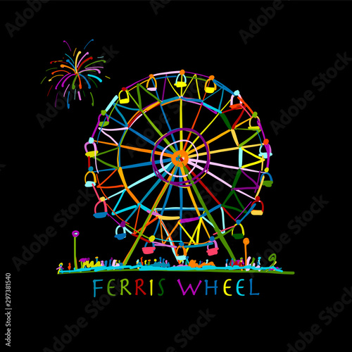 Ferris wheel at night, sketch for your design Fototapete