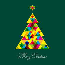 Geometric Christmas Tree Made By Multiple Triangles.