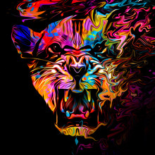 Abstract Creative Illustration With Colorful Panther For Background