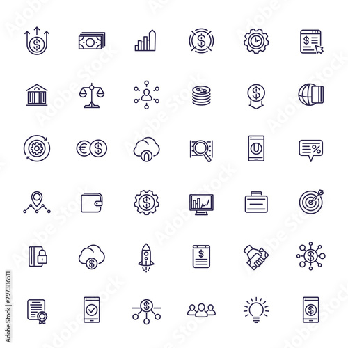 Fotografía  Venture capital, investments, start-up, hedge funds and finance line icons set