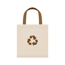 Cloth Eco Bags Blank Or Cotton Yarn Cloth Bags, Empty Bags And Brown Recycling Symbol Isolated On White, Fabric Cloth Eco Bag Brown Empty Template For Campaign To Use Bags To Reduce Waste Plastic