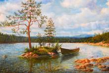 Boat On River, Autumn Landscap...