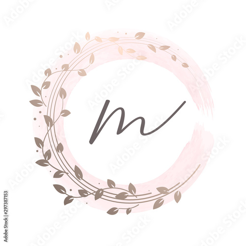 Floral wreath on watercolour background. Feminine logo template for beautiful brand © maddyz