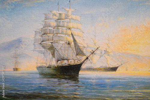 Sailing ships in bay, oil painting on canvas Fototapeta