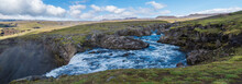 Panoramic Beautiful Lush Green Landscape Of Skoga River Valley Cascades Near Skogafoss Waterfall And Skogar End Of Fimmvorduhals Hiking Trail. South Iceland, Summer Blue Sky