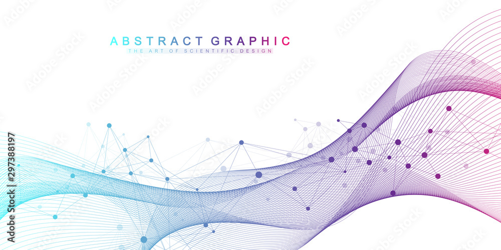 Fototapety, obrazy: Scientific vector illustration genetic engineering and gene manipulation concept. DNA helix, DNA strand, molecule or atom, neurons. Abstract structure for Science or medical background. Wave flow