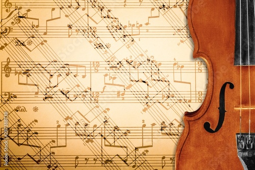 Retro antique classical Violin on note background - 297388738