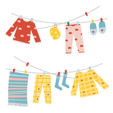Cute Things Are Dried On A Clothesline