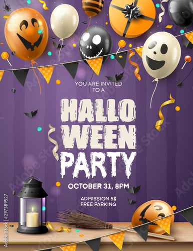 Modern Halloween party template with balloons