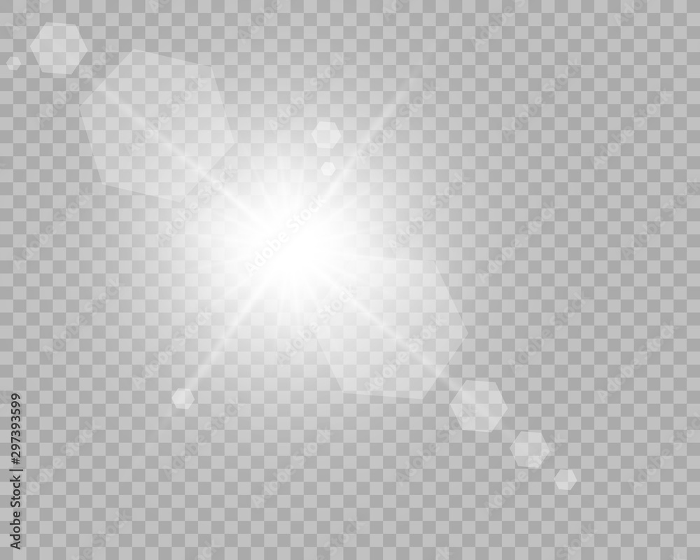 Fototapety, obrazy: Special lens flash, light effect. The flash flashes rays and searchlight. White glowing light. Beautiful star Light from the rays. The sun is back-lit. Bright beautiful star. Sunlight. Glare.