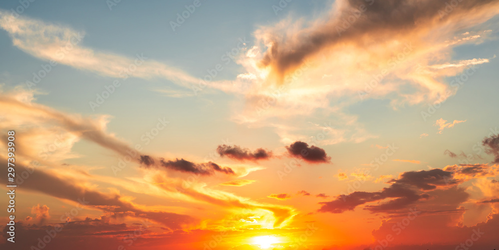 Fototapety, obrazy: Dramatics orange and red sunset or sunrise sky with clouds for background