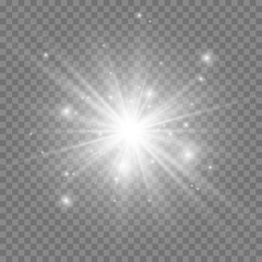 Special lens flash, light effect. The flash flashes rays and searchlight. White glowing light. Beautiful star Light from the rays. The sun is back-lit. Bright beautiful star. Sunlight. Glare.