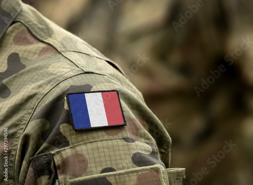 Flag of France on military uniform. Army, troops, soldier (collage).