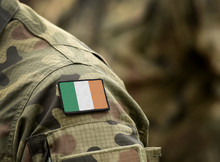 Flag Of Ireland On Military Un...