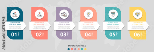 Fototapeta Vector infographic flat template rectangle and arrow for six diagrams, graph. Business concept with 6 circles. For content, flowchart, step for step, timeline, levels, marketing, presentation obraz
