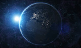 View of blue planet Earth in space with her atmosphere Europe continent 3D rendering. - İllüstrasyon