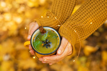 Autumn Mood Tea With Sea Buckthorn In A Forest In A Yellow Mug Near A Campfire On A Camping Trip
